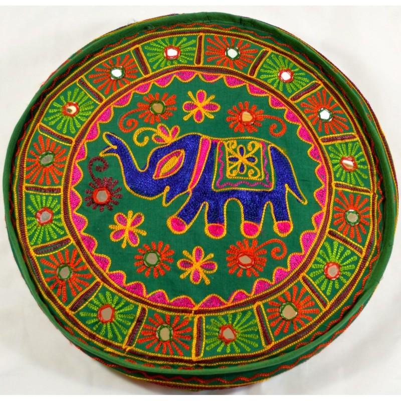 SINGLE ELEPHANT PUFF green seat puff cover