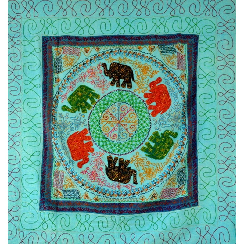 ELEPHANT DANCE bedspread / wall hanging light blue
