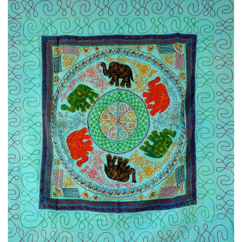 ELEPHANT DANCE bedspread / wall hanging light blue