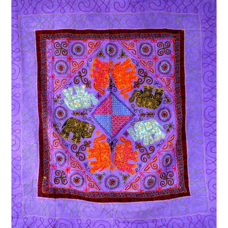 ELEPHANT DANCE bedspread / wall hanging purple