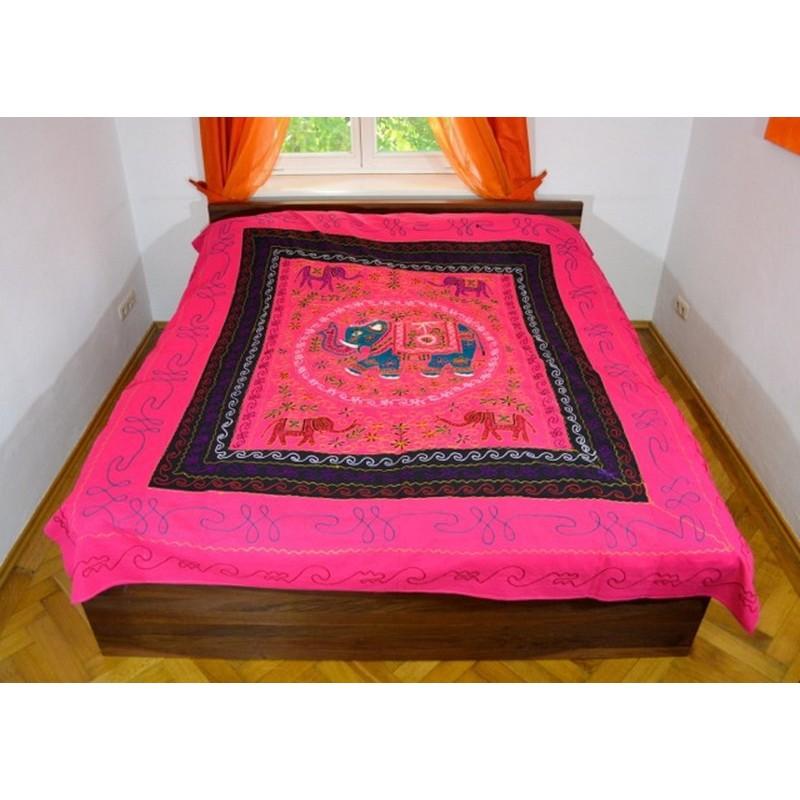 ELEPHANT DANCE bedspread / wall hanging pink