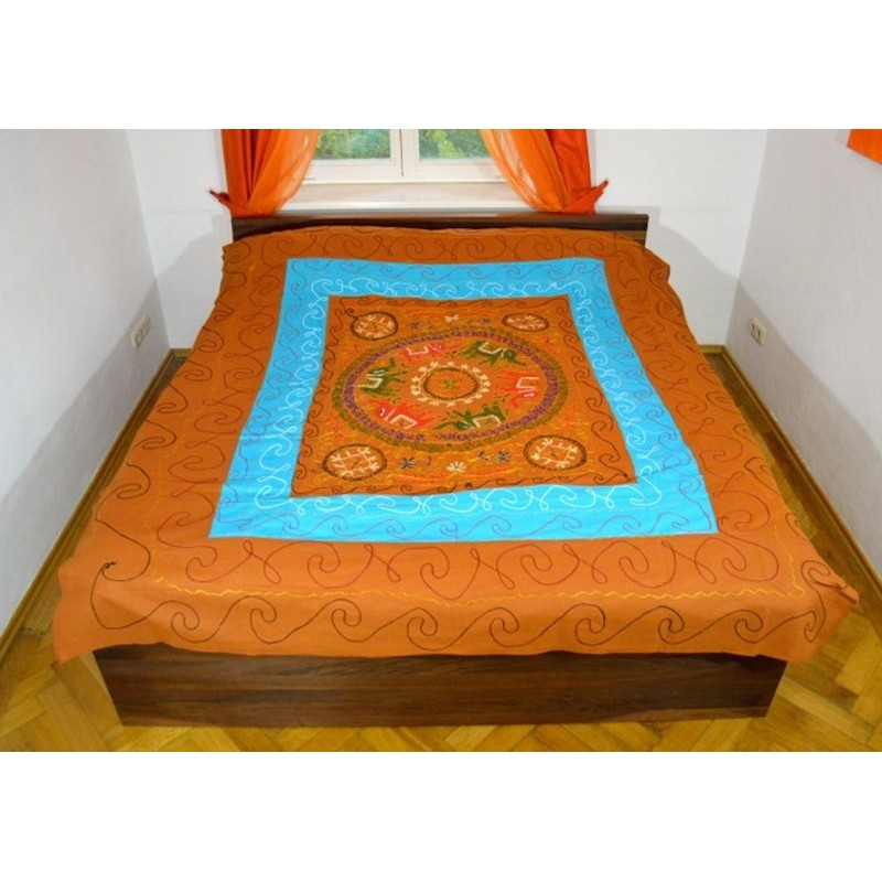 ELEPHANT DANCE bedspread / wall hanging brown