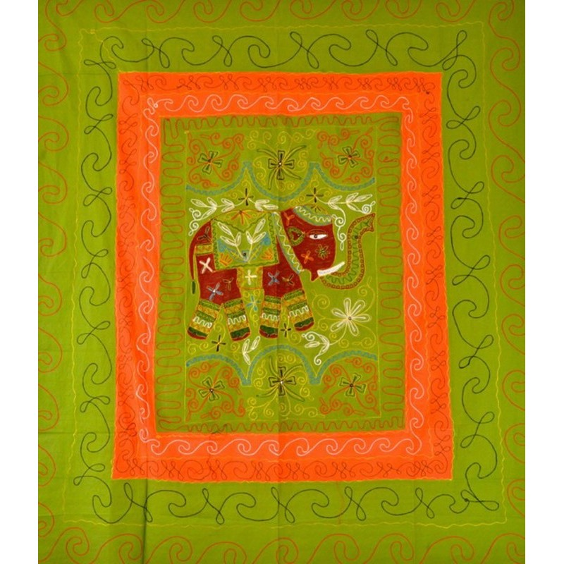 ELEPHANT DANCE bedspread / wall hanging light green