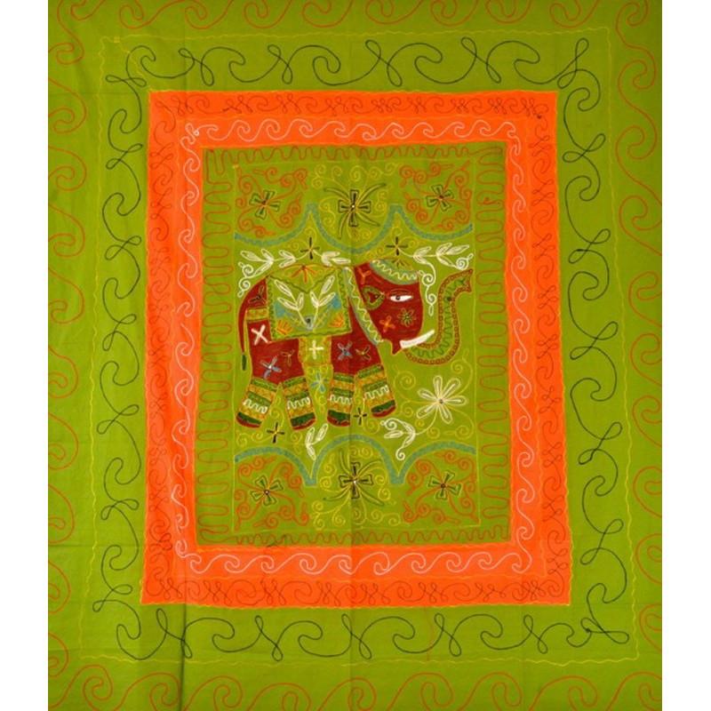 ELEPHANT DANCE bedspread / wall hanging light green