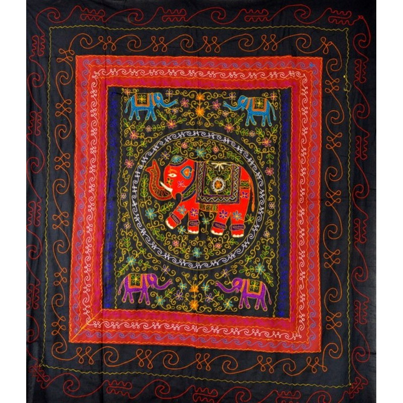 ELEPHANT DANCE bedspread / wall hanging black