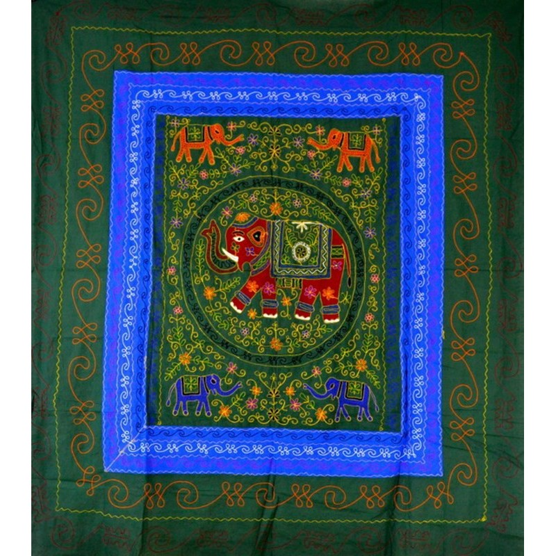 ELEPHANT DANCE bedspread / wall hanging green