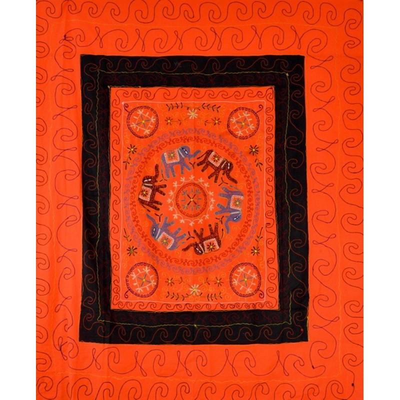 ELEPHANT DANCE bedspread / wall hanging orange