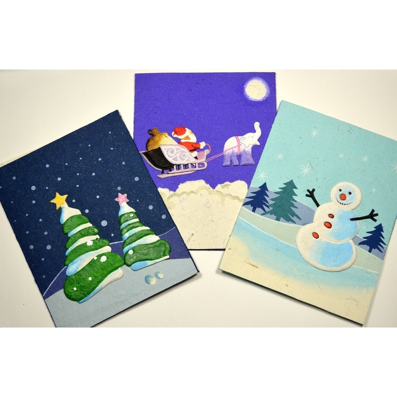 ELEPHANT DUNG SNOWMAN Christmas card