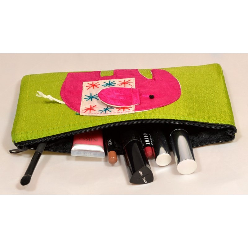 HAPPY ELEPHANT green satin pouch