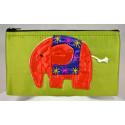 HAPPY ELEPHANT green satin pouch