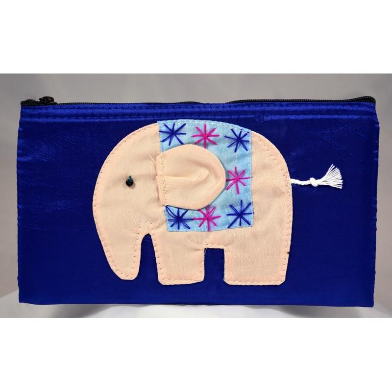 HAPPY ELEPHANT blue satin pouch