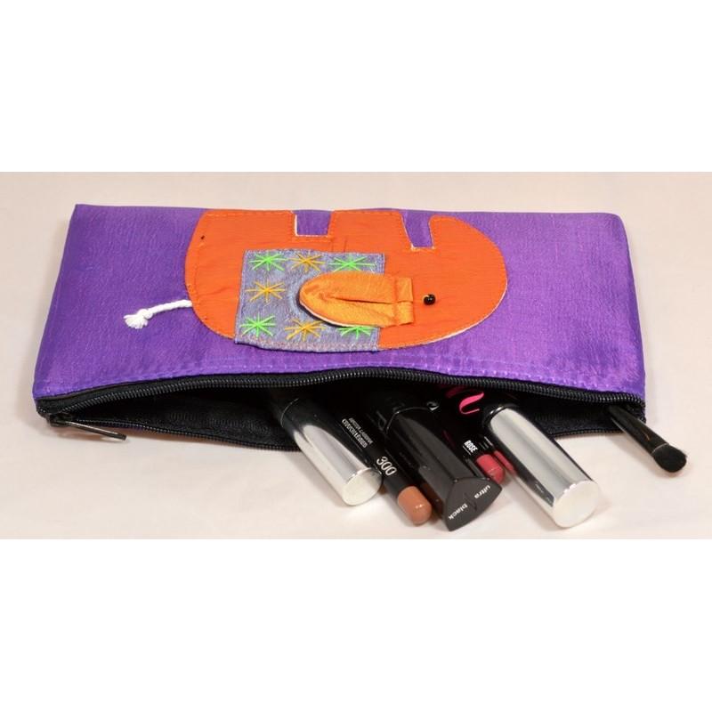 HAPPY ELEPHANT purple satin pouch