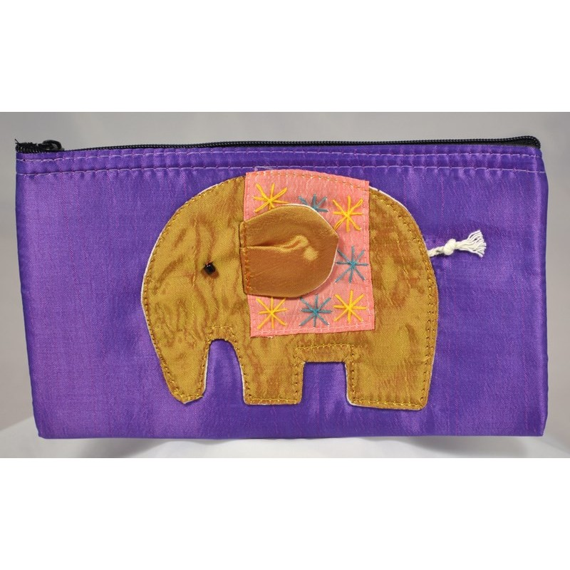 HAPPY ELEPHANT purple satin pouch