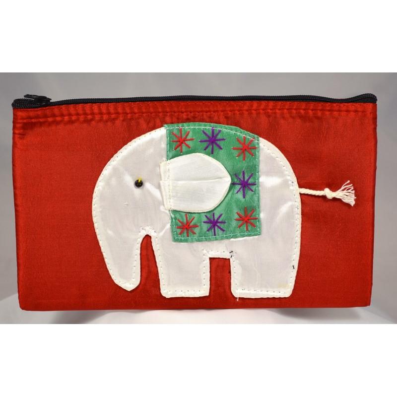 HAPPY ELEPHANT roter Satinbeutel
