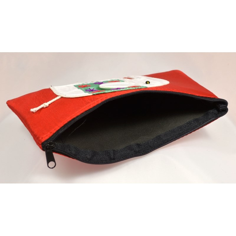 HAPPY ELEPHANT red satin pouch