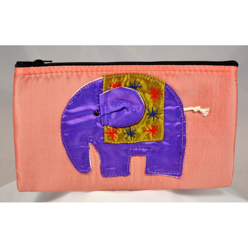 HAPPY ELEPHANT salmon satin pouch