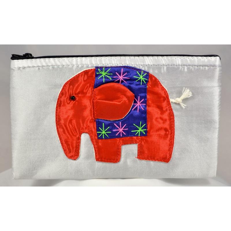 HAPPY ELEPHANT weißer Satinbeutel
