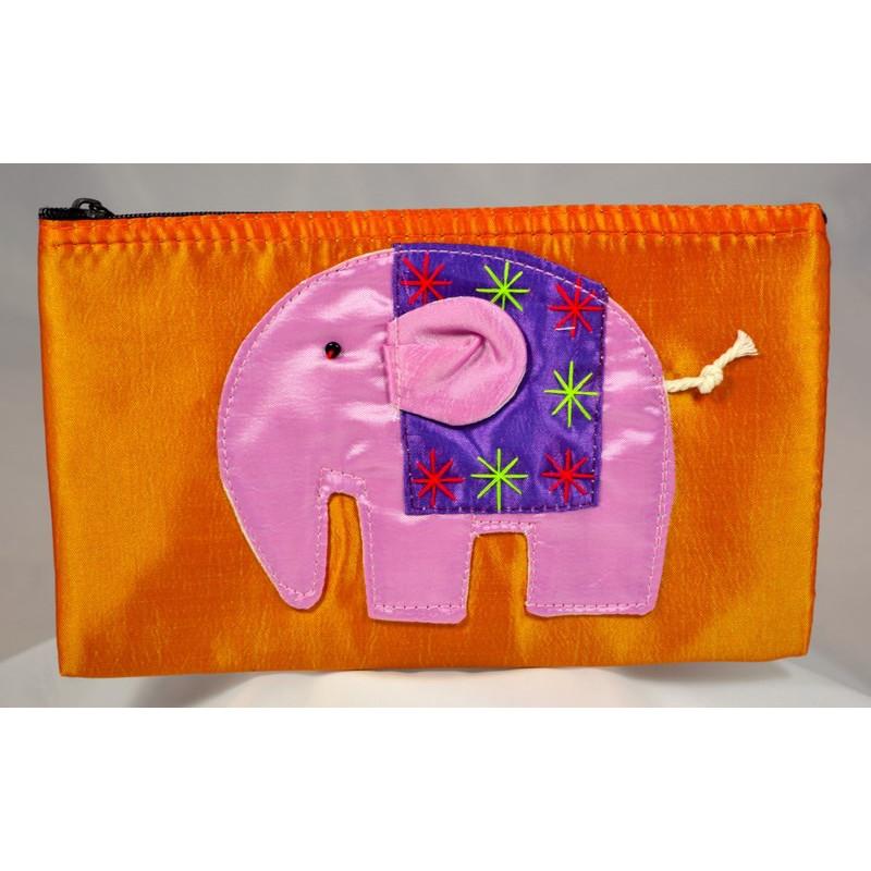 HAPPY ELEPHANT oranger Satinbeutel
