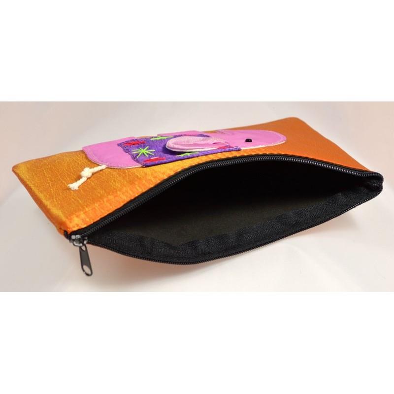 HAPPY ELEPHANT orange satin pouch