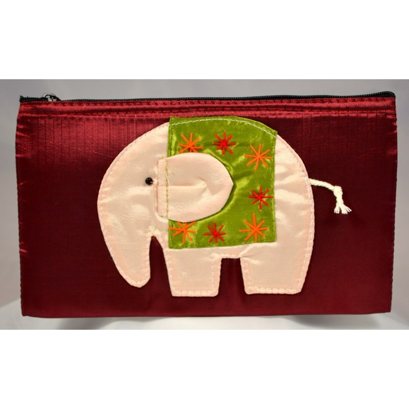 HAPPY ELEPHANT ruby satin pouch
