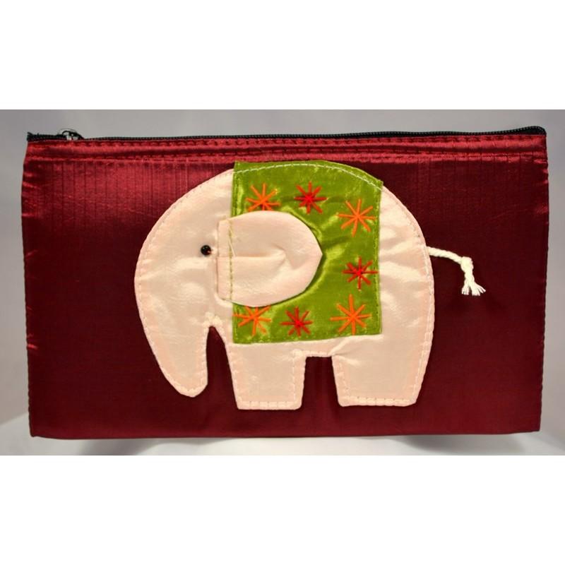 HAPPY ELEPHANT ruby satin pouch