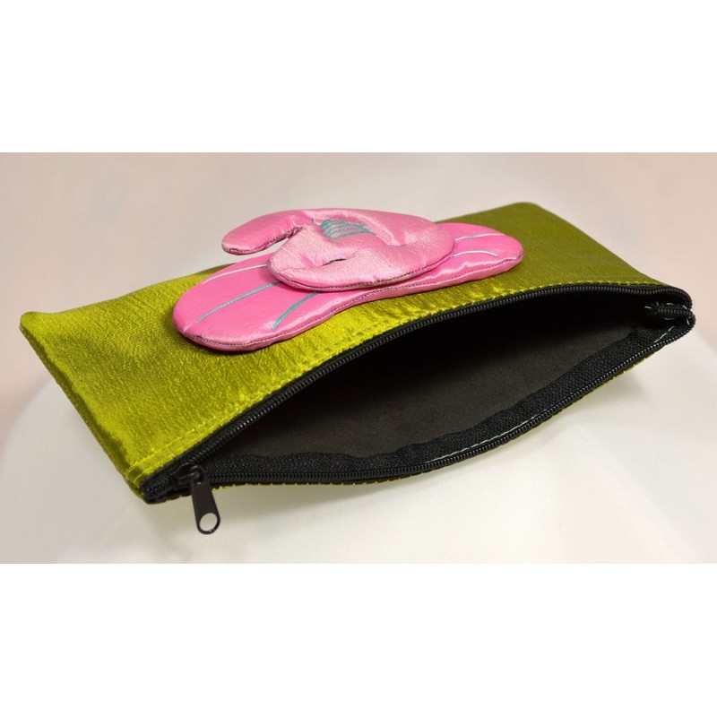 BIG EAR ELEPHANT green satin pouch