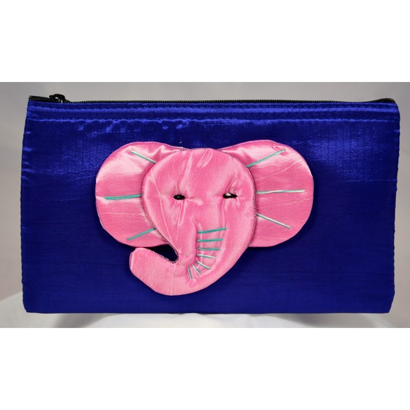 BIG EAR ELEPHANT golden satin pouch