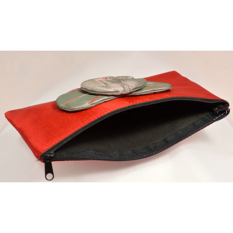 BIG EAR ELEPHANT red satin pouch