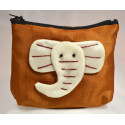 BIG EAR ELEPHANT golden satin mini pouch