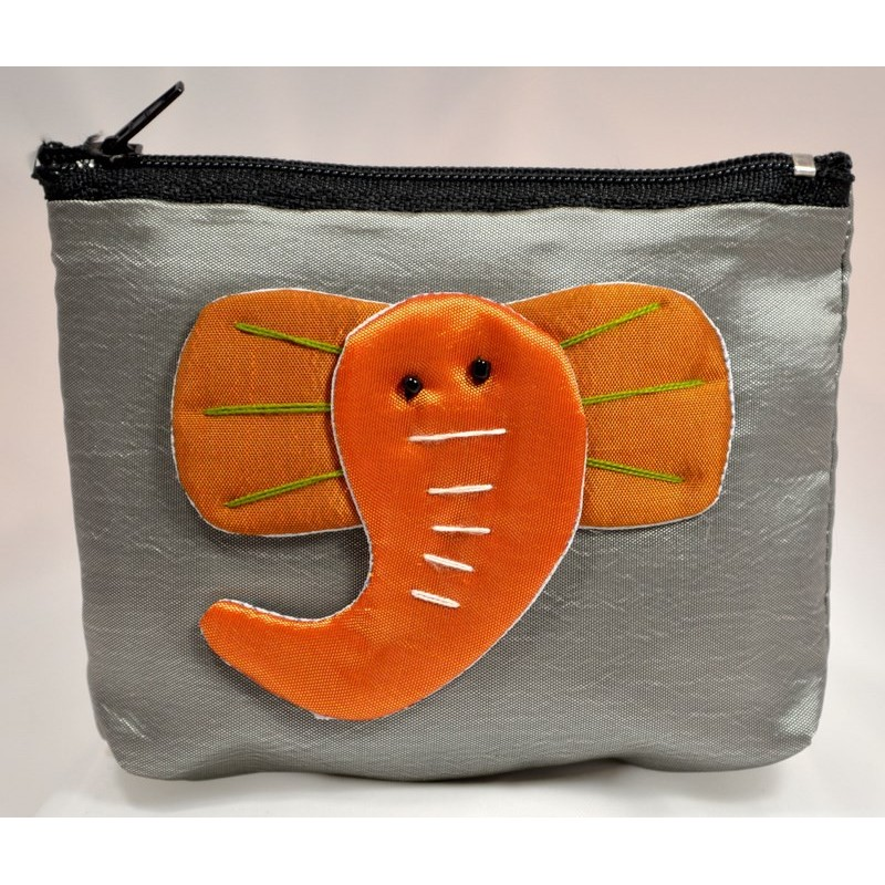 BIG EAR ELEPHANT grey satin mini pouch