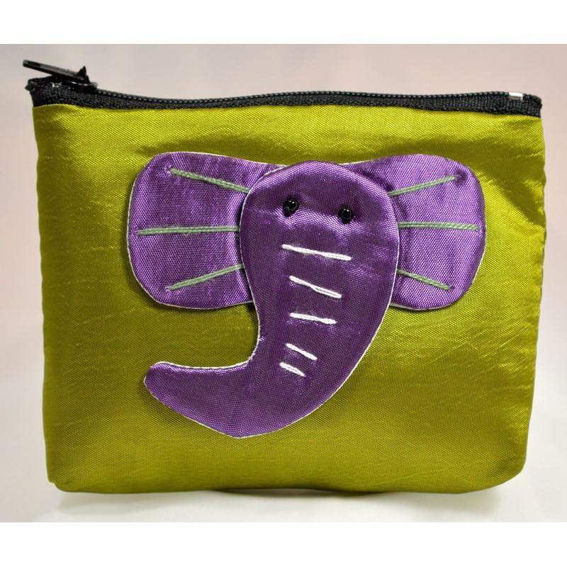 BIG EAR ELEPHANT green satin mini pouch
