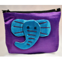 BIG EAR ELEPHANT purple satin mini pouch