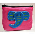BIG EAR ELEPHANT pink satin mini pouch