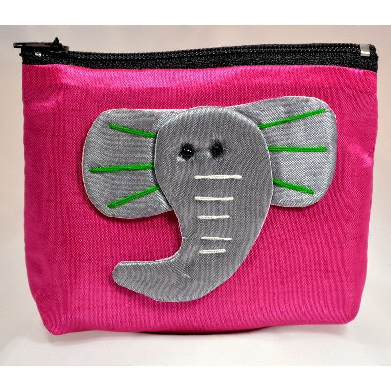 BIG EAR ELEPHANT pink satin mini pouch