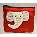 BIG EAR ELEPHANT red satin mini pouch